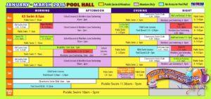 jan-mar pool timetable